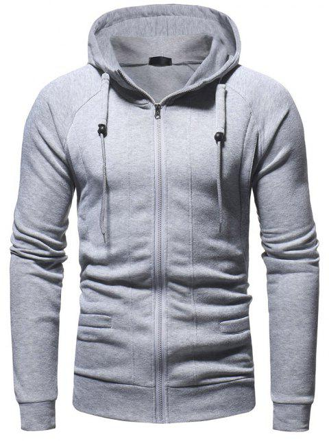 Men's Fashion Casual Slim Hooded Solid Color Sweater - LIGHT GRAY 2XL