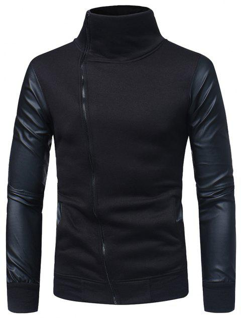 Men's Slim Diagonal Zip High Turt Leather Sleeve Sweater - BLACK M