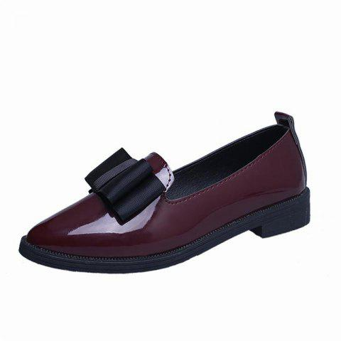 Low Heeled Women's Pointed Shoes - RED WINE EU 38