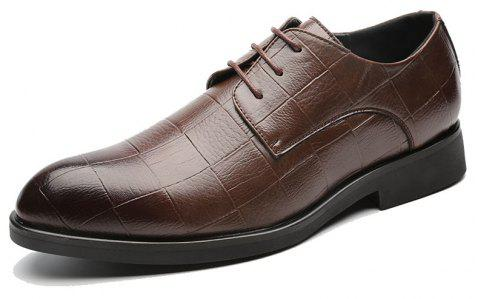 MUHUISEN Autumn Business Casual Men Shoes - BROWN EU 38