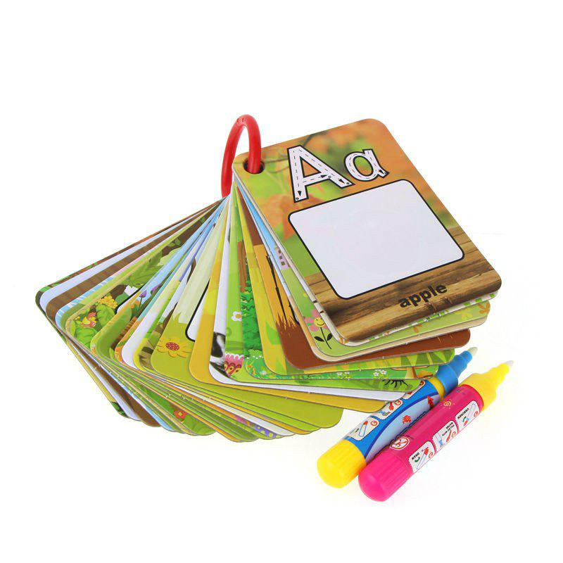 Children Early Education Toy Cognition 26 Letters Water Picture Card - multicolor
