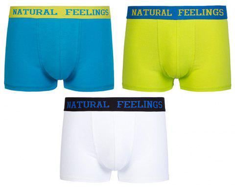 3PCS All Cotton Comfortable Underpants Briefs for Men Boxers - multicolor M