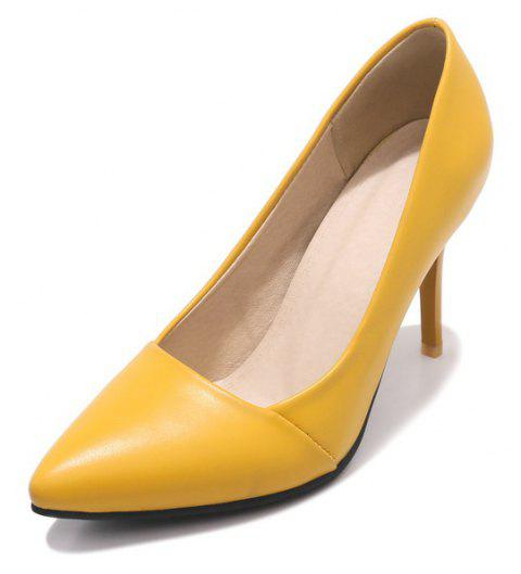 Wedding Shoes with Stiletto  Solid Color - YELLOW EU 43
