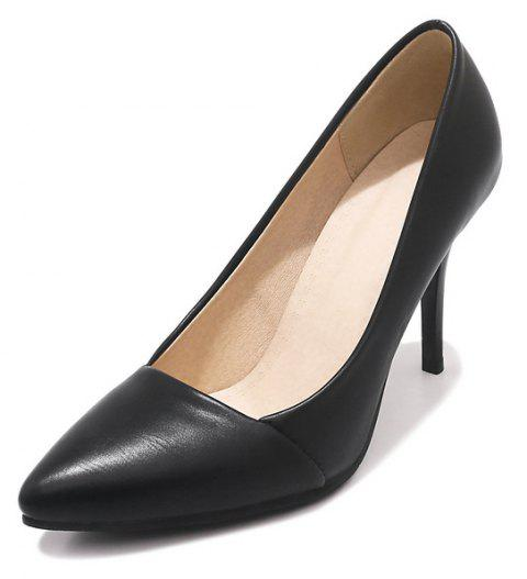 Wedding Shoes with Stiletto  Solid Color - BLACK EU 39