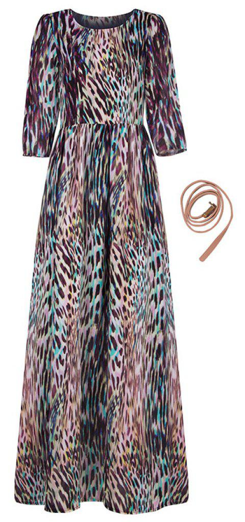 New Autumn Round Collar Printed Long-sleeve Dress - PUCE S