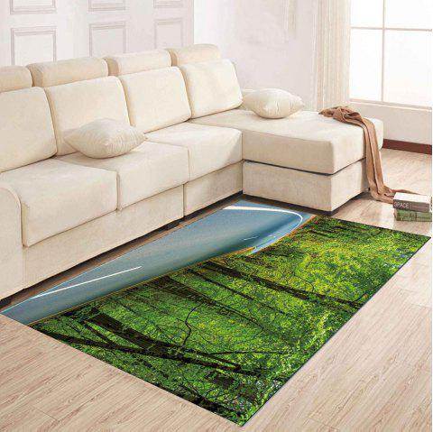 Simple North Europe Style Rug Forest Scenery Pattern Floor Mat Living Room - GREEN ONION 140X200CM