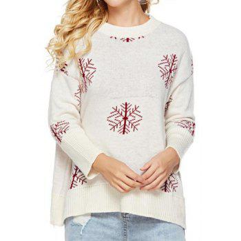 Long Sleeves Snowflake Round Collar Sweater - CRYSTAL CREAM ONE SIZE