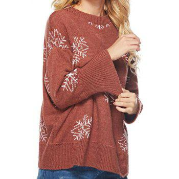 Long Sleeves Snowflake Round Collar Sweater - CHERRY RED ONE SIZE