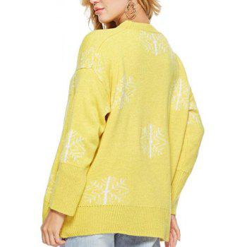 Long Sleeves Snowflake Round Collar Sweater - GOLDENROD ONE SIZE