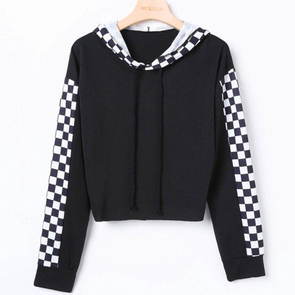 Black and White Plaid Long Sleeved Hoodie - NATURAL BLACK S