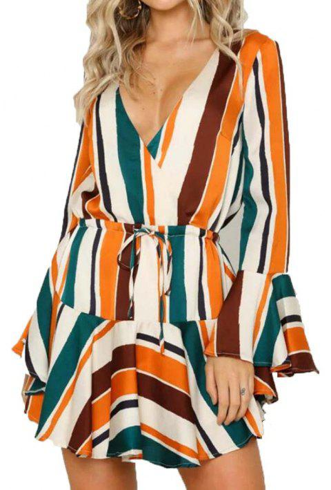 Color Striped Long Sleeved V Collar Dress - ORANGE L