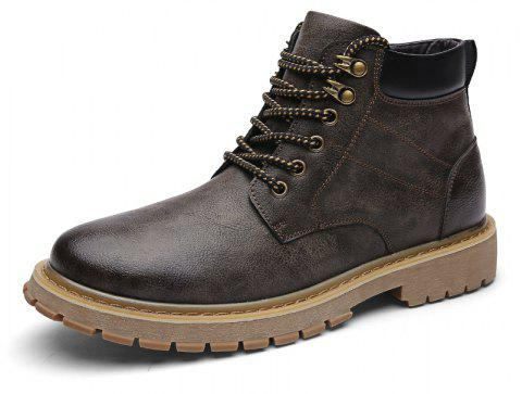 ZEACAVA New Casual Men's Help Tooling Boots - DEEP BROWN EU 39