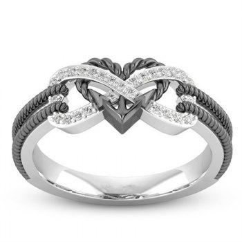 Fashion Simple Heart Type Female Ring - BLACK US 7