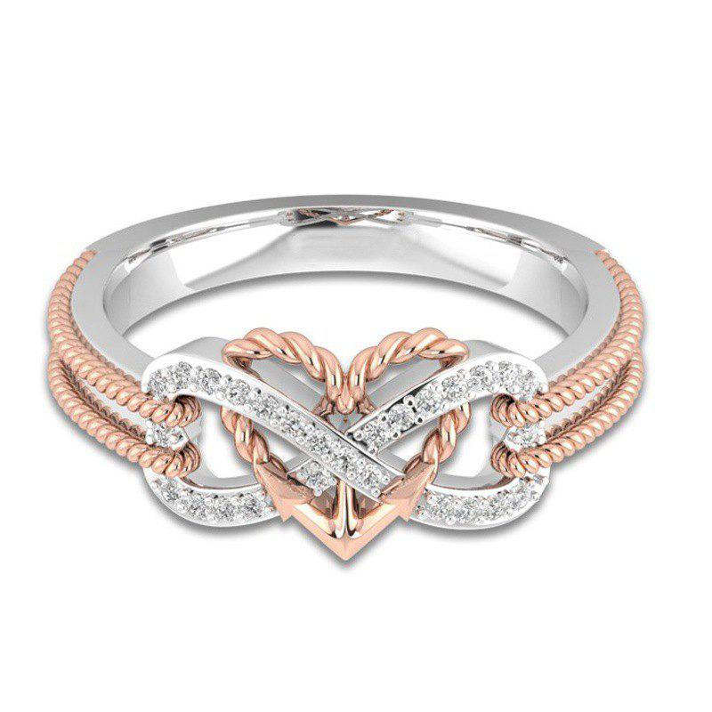 Fashion Simple Heart Type Female Ring - ROSE GOLD US 9