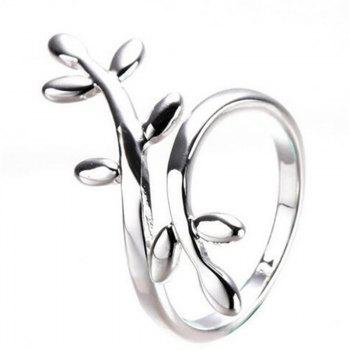 New Fashion Leaf Shape Silver Plated Ring - WHITE ONE SIZE