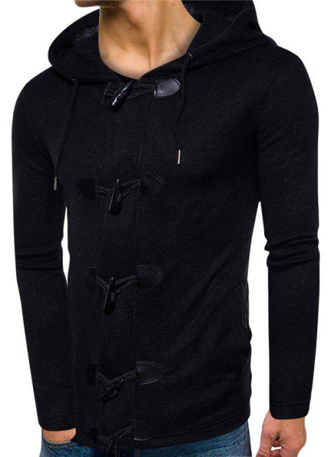 Men's Casual Horn  Solid Colored Hooded Cardigan - BLACK XL