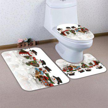 Snowman Band Flannel Printing Water-Absorbing Non-Slip Toilet Three-Piece Set - multicolor 43CMX38CM,40CMX50CM,50CMX80CM