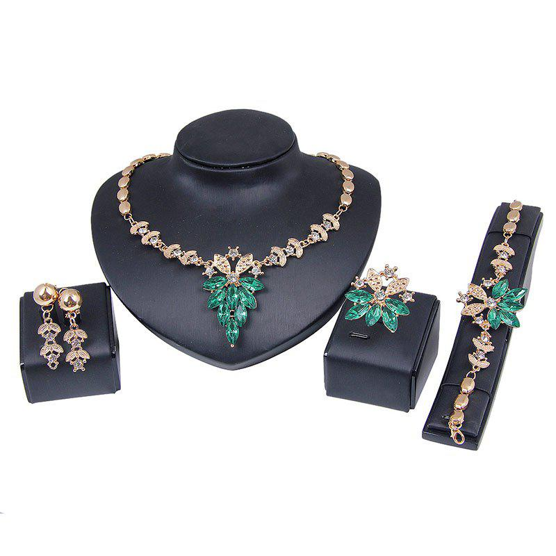 Fashion  Crystal Diamond Earrings Ring Necklace Bracelet Four-piece Jewelry - DEEP GREEN