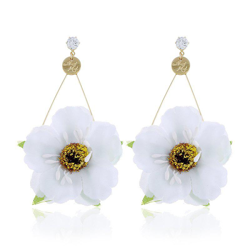 Fashion Zircon Pendant Original Flower Earrings, White