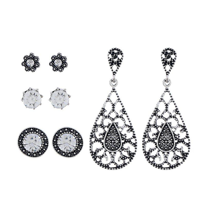 Fashion Long Vintage Zircon Ladies Earrings Set, Silver