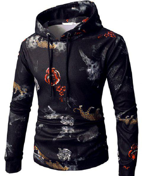 Digital Printing Hooded Casual Men's Sweater - multicolor D XL