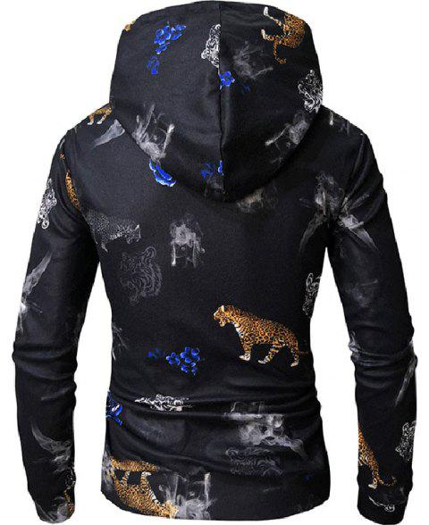 Digital Printing Hooded Casual Men's Sweater - multicolor C 3XL