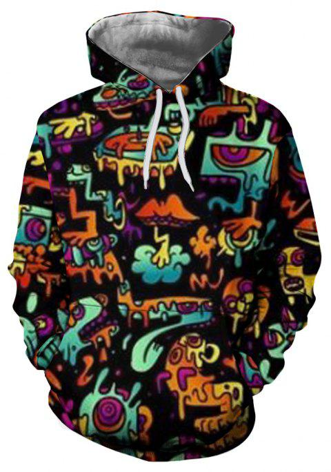 Fashion New Sports 3D Personality Printing Men's Patch Pocket Hoodie Sweater - multicolor C L