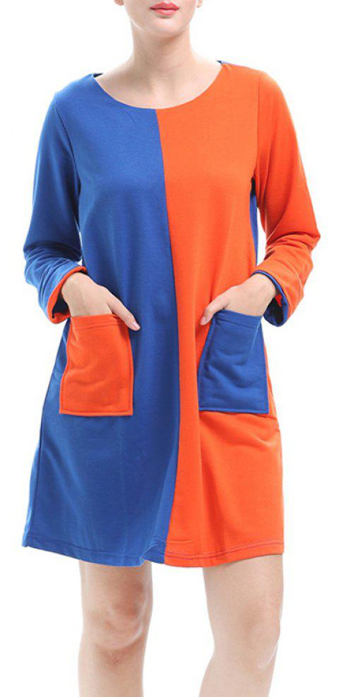 Large Size Women's Loose Temperament Contrast Color Long-Sleeved Stitching Dress - BLUE L