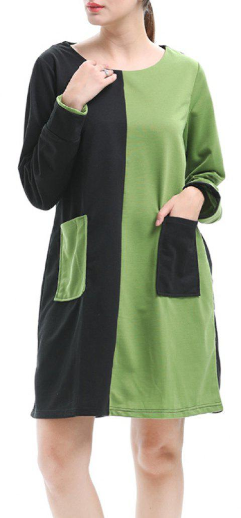 Large Size Women's Loose Temperament Contrast Color Long-Sleeved Stitching Dress - BLACK L