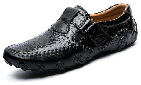 Outdoor Leisure Set Foot Business Casual Fashion Office  Men's Leather Shoes - BLACK EU 44