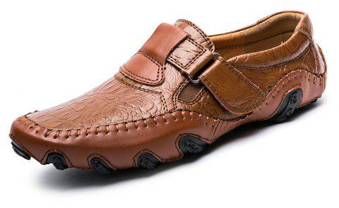 Outdoor Leisure Set Foot Business Casual Fashion Office  Men's Leather Shoes - BROWN EU 38