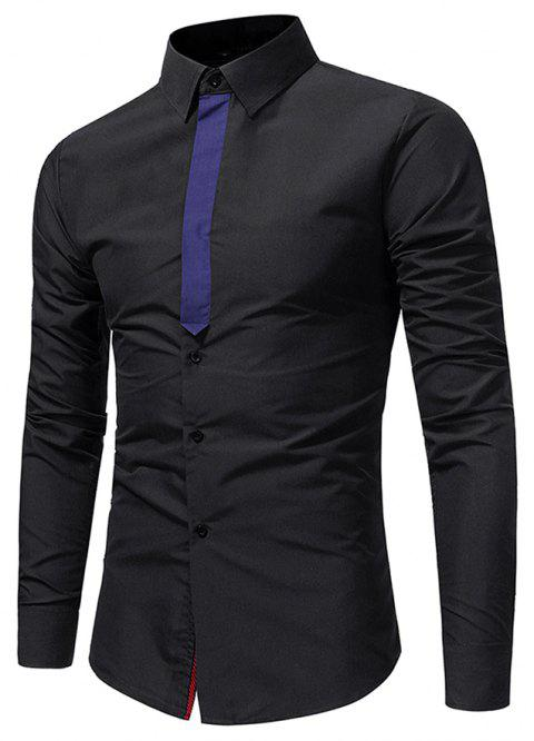 Hommes Casuality Ribbon Splicing Shirt décontracté Business Youth Fashion Long Sleeve - Noir M