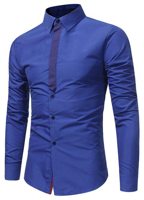 Hommes Casuality Ribbon Splicing Shirt décontracté Business Youth Fashion Long Sleeve - Bleu Royal M
