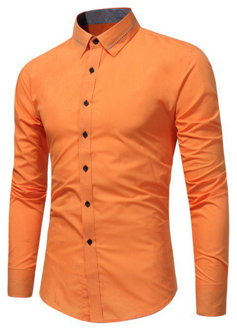 Men'S Fashion Business Shirt Chemise à manches longues Tide Men 's Solid Color Wild Slim - Tangerine XL