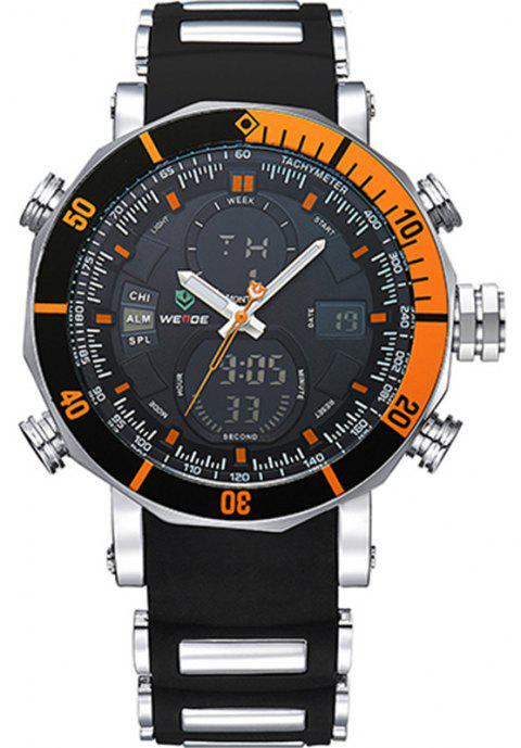 WEIDE Men Luxury Fashion Double Time Chrono Waterproof Rubber Strap Sport Watch - ORANGE