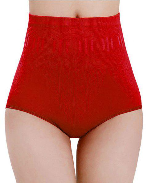Seamless High Waist Slimming Tummy Belly Panties Postnatal Girdle Underwear - RED ONE SIZE