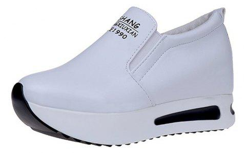 WomenS Shoes Spring Sneakers Cake Thick Bottom Slope - WHITE EU 40