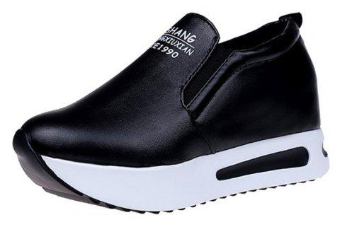 WomenS Shoes Spring Sneakers Cake Thick Bottom Slope - BLACK EU 36