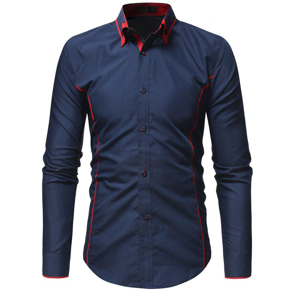 Contrast Double-layer Collar Men's Casual Slim Long-sleeved Shirt - CADETBLUE XL
