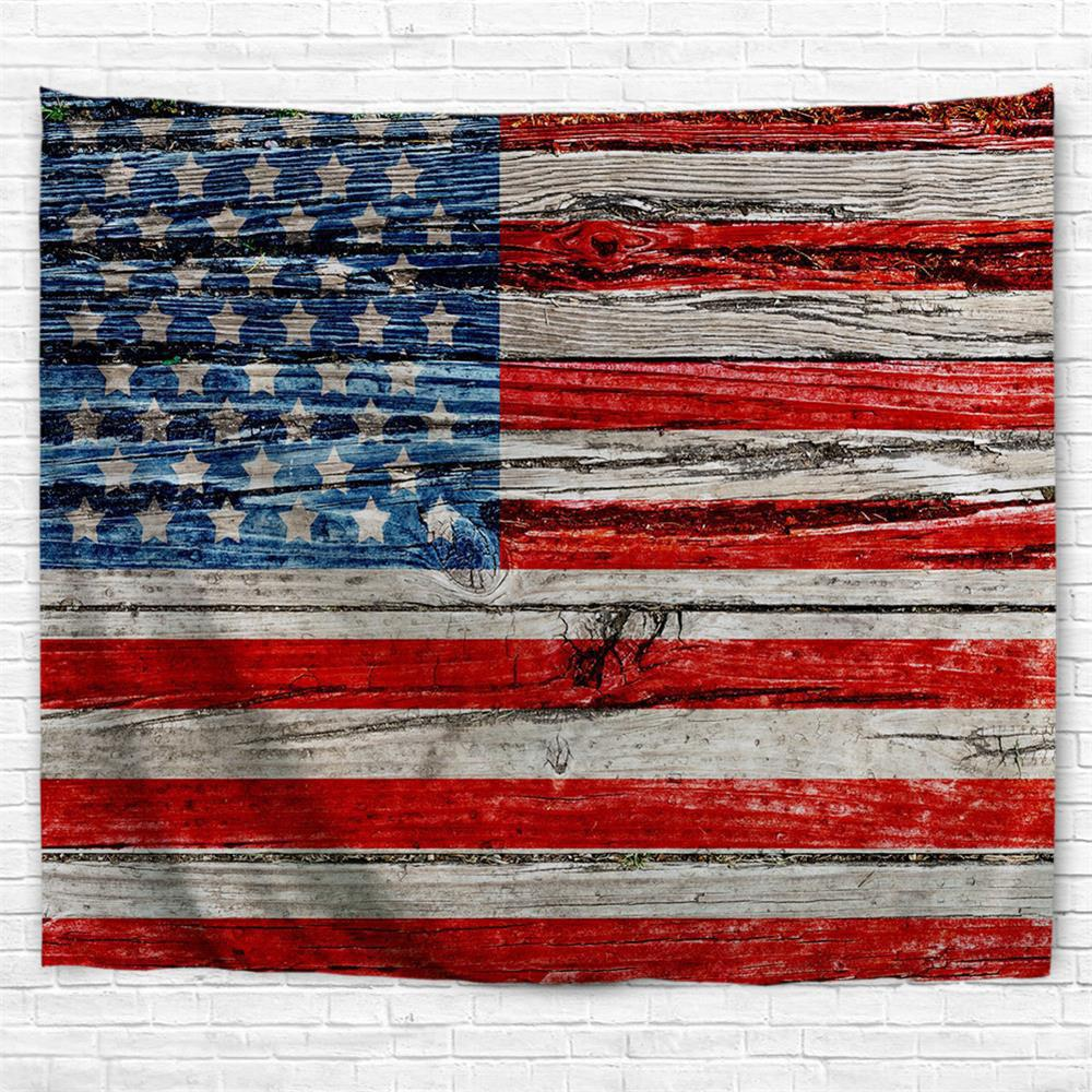 Wooden Board Flag 3D Printing Home Wall Hanging Tapestry for Decoration - multicolor W229CMXL153CM