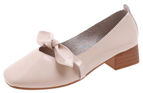 Shallow Butterfly Bow Thick Shoes - BEIGE EU 36