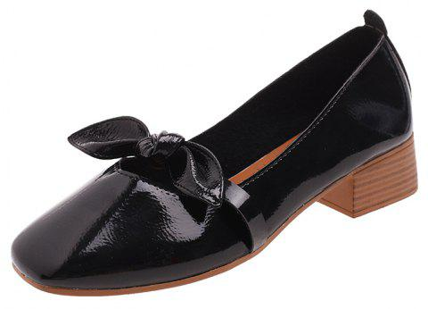Shallow Butterfly Bow Thick Shoes - BLACK EU 37
