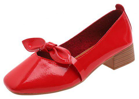 Shallow Butterfly Bow Thick Shoes - RED EU 35