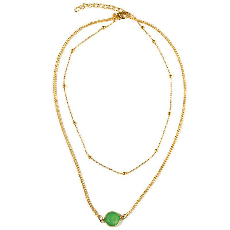 Natural Stone Glass Inlaid with Fashion Necklace - GREEN
