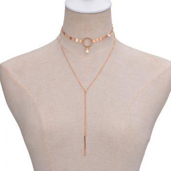 Sexy Simple Handmade Sequins Star Fringed Collar Necklace - GOLD