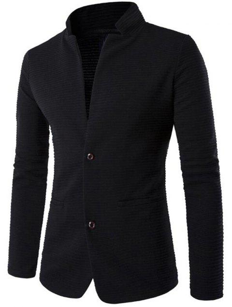 Men's Casual Blazer Patch Design Stand Collar Long Sleeve Suit - BLACK XL