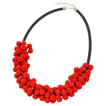 Fashion PU Leather Chain with Velvetball Necklace Earrings - multicolor