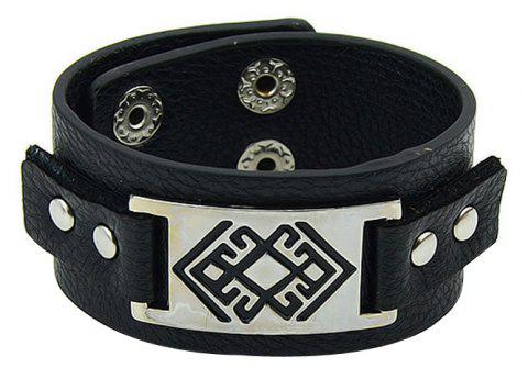 Fashion PU Leather Wide Bracelet with Metal Geometry - multicolor A