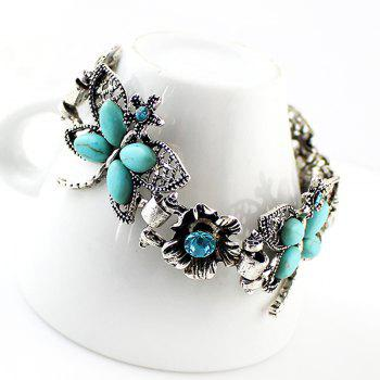 Fashion Beautiful Metal Chain Hollow-out Dragonfly Flower Bracelet - multicolor