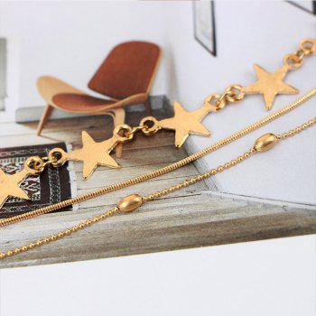2pcs Fringed Beads and Star Chains Beautiful Necklace Set - GOLD